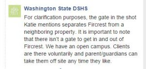 DSHS Clarification of Fircrest Video by Susannah Frame