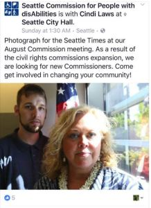 Seattle Commission for people with disabiltiies Shaun Bickley and Cindi Laws