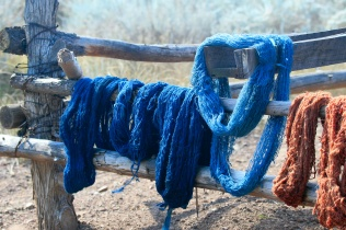 Skeins of naturally dyed handspun yarn hanging on wooden fence to dry.