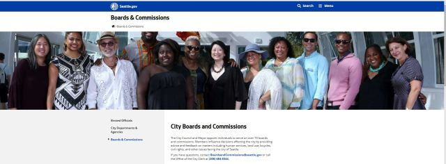 Seattle Boards and Commission Home page