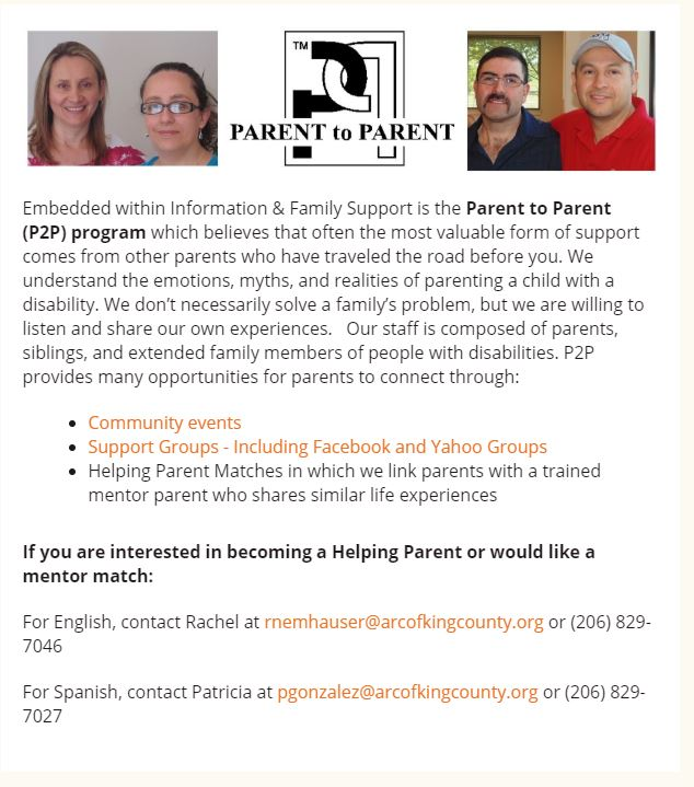 parent to parent support groups through the Arc of KC